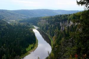 Вид с вершины скалы Столбы